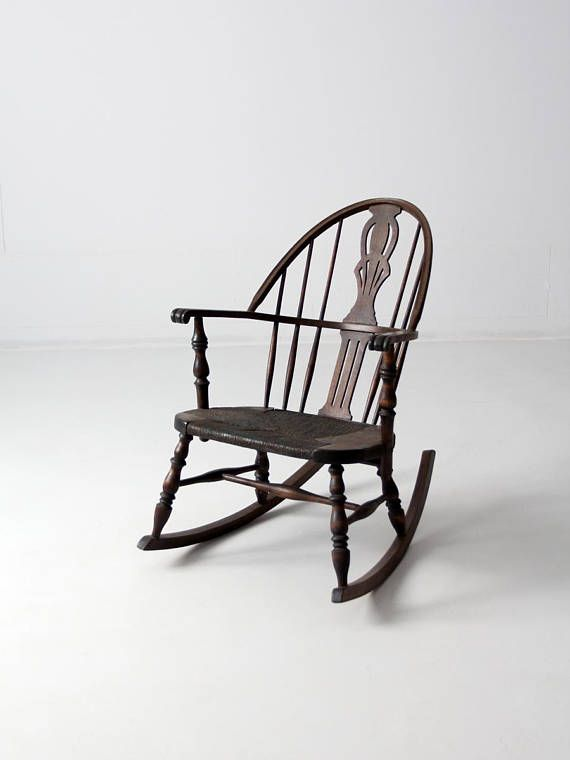 Antique Windsor Rocking Chair Woven Seat Rocker Rocking Chair Woven Chair Chair