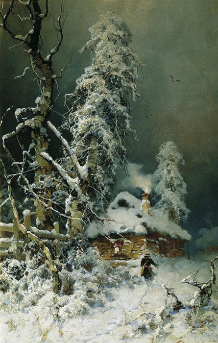 Yuliy Yulevich (Julius) Klever(Russian, 1850-1924)  Winter Landscape With a Village     Oil on canvas