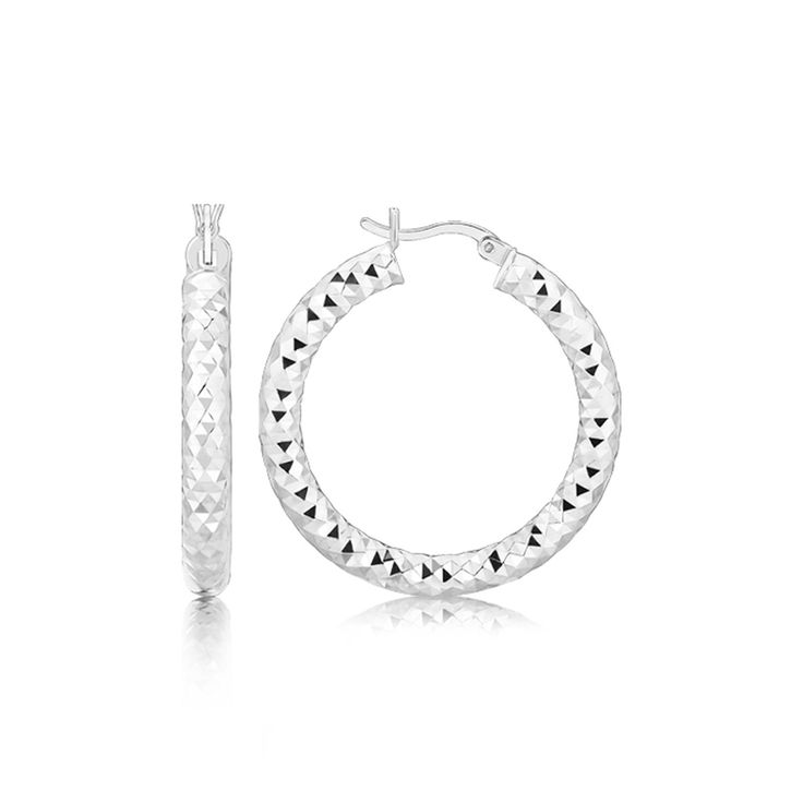 Sterling Silver Rhodium Plated Thick Faceted Style Hoop Earrings