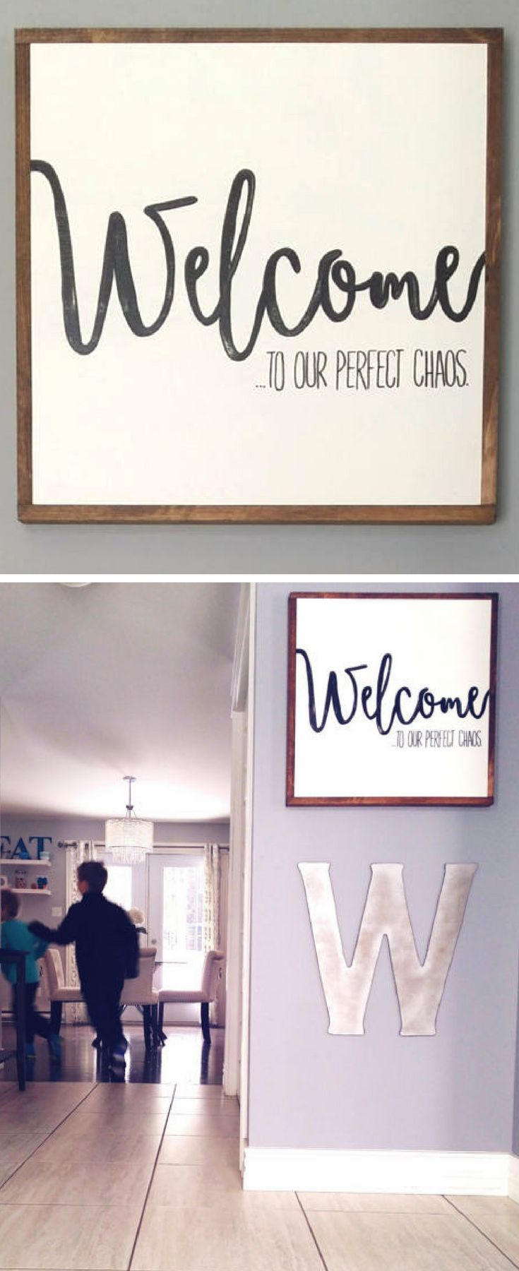 Such a perfect sign for any house that has young kids - it's always chaotic, but wouldn't have it any other way! Welcome to our perfect chaos wood sign, farmhouse sign, farmhouse decor, rustic sign, entryway sign, rustic decor, home decor, wall decor #ad #DIYHomeDecorOrganization