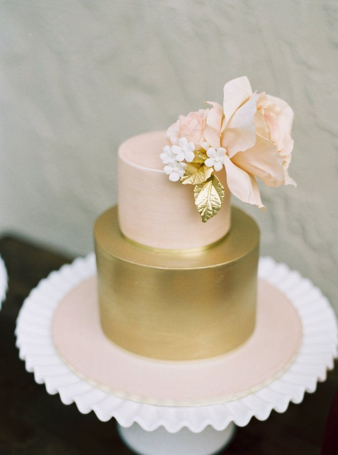 Blush and gold floral topped cake: http://www.stylemepretty.com/living/2015/11/09/fifty-shades-of-blush-bridal-shower/   Photography: Untamed Heart Photography - http://untamedheartphotography.com/