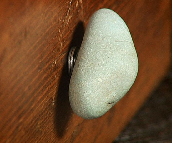 DIY Rock Knobs for Cabinets or Doors or Hire a sculptor to crete one of a kind hardware and fixtures, like faucets, etc