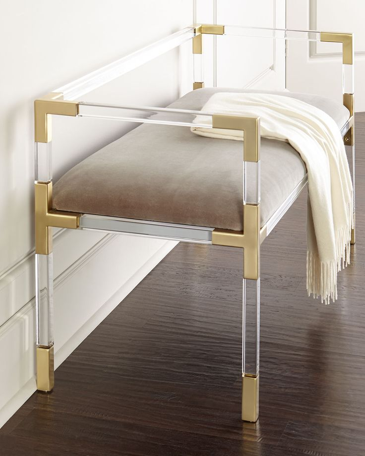 Lucite + gold bench - gorgeous!