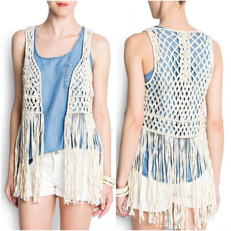 Mango Women's Fringed Openwork Vest - $69.99  #clothing #women #vest
