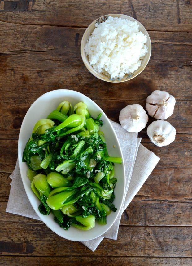 "I like this garlic baby bok choy as an alternative to just a regular salad as a vegetable side. There are a couple of types of ""baby bok choy."" Some have thick white stems with dark green leaves, and others have more tender light"