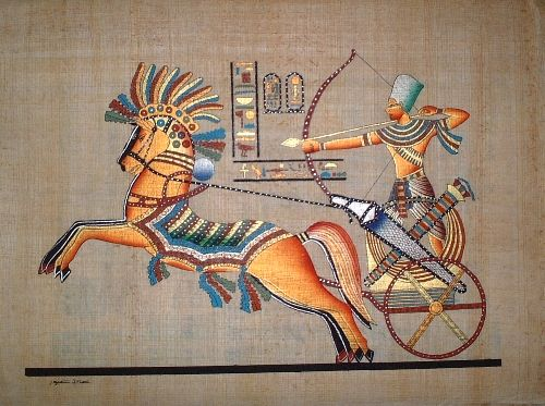 This view depicts the rave king Ramses II riding in his chariot and armed with a spear during the battle of Kadesh.