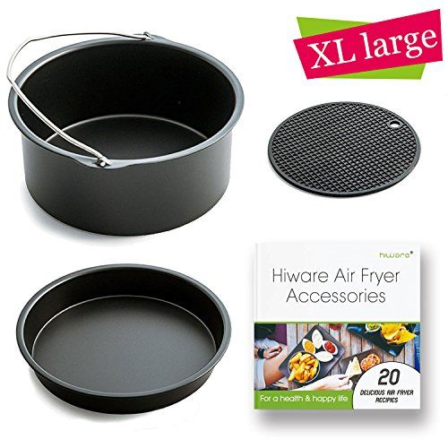 [ XL-VERSION ] Air Fryer Accessories XL- Fits All 5.3 - 5.8QT - Non-Stick Barrel / Pan + Silicone Mat + Air Fryer Recipes, Compatible with Power Air Fryer XL / Philips Avance XL HD9240 / GoWISE USA XL  100% COMPATIBLE WITH - Air fryer Philips Walita XL / Philips Avance XL / Philips VIVA XL / HD9240 Series / GoWISE USA XL 5.8QT / Power Air Fryer XL 5.3 QT / Faberware 5 XL / Cooks Essentials Air fryer XL 5.3 QT.  4-PIECE AIR FRYER ACCESSORY KIT - This Hiware Air Fryer Accessory Kit inclu...