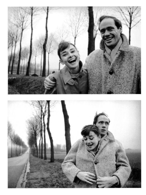 Audrey Hepburn and husband Mel Ferrer pose for pictures during a roadside excursion somewhere in France, 1956.