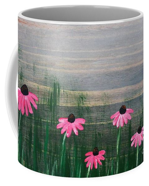 Pink Coffee Mug featuring the painting Pink Echinacea by Lyssjart Sj