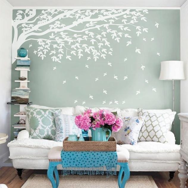 color`Adesivo na parede central da sala