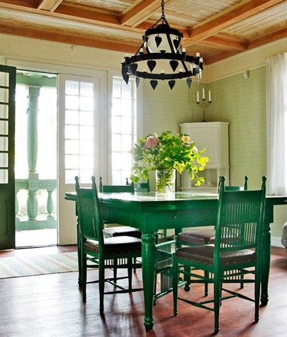 Dark Green Table And Chairs