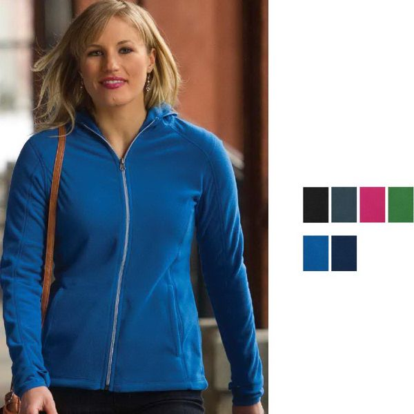 Ladies' Coal Harbour (R) everyday Fleece jacket, 7.6 oz., 100% polyester anti-pill micro fleece. 2-panel hood with polyester spandex binding. Clear coil specialty zipper with dyed-to-match chain stitch. Dyed-to-match taping at center front. Set-in sleeves with open cuffs and thumbholes. Front pockets with polyester tricot lining. Gently contoured silhouette with princess seams. 12 pieces per case. Blank.