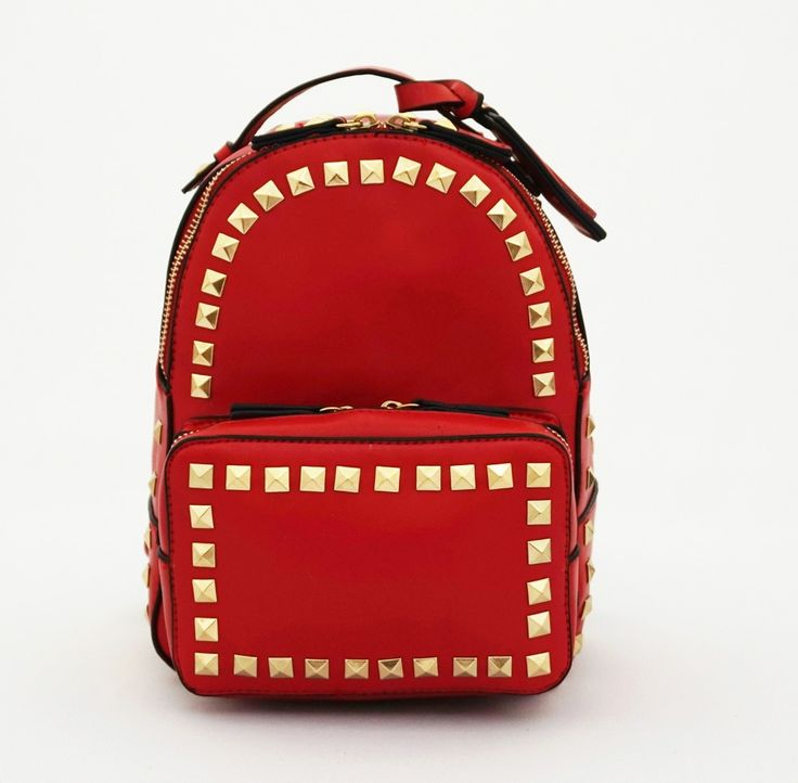 Ransel Stella Stud, korean Bag. Free gantungan tempat foto. Cute good quality. Warna merah. Uk 20x9x24