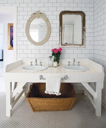 mismatched mirrors over vanity: Bathroom Design, Vintage Mirror, Anna Spiro, Subway Tile Bathroom, Bathroom Mirror, Bathroom Sinks, Bathroom Ideas, White Subway Tile, Double Sinks