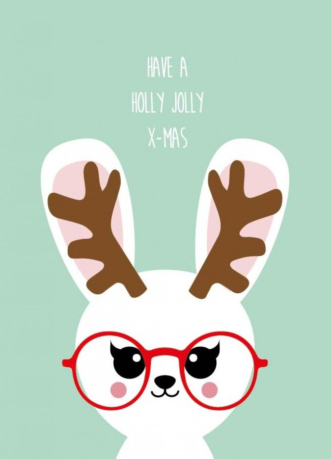 Have a holly jolly christmas bunny Have a holly jolly christmas bunny kerstkaart is geschikt voor iedereen die van kerst houdt en van een grapje in de tekst.
