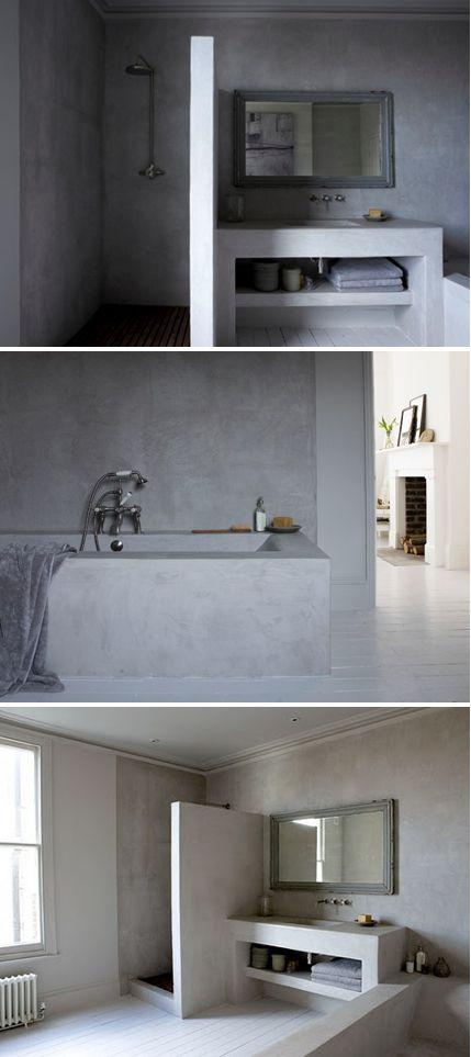 www.naturalmoderninteriors.blogspot.com | grey Tadelakt lime plaster bathroom