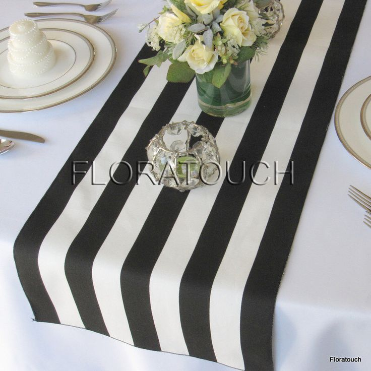 White and Black Stripe Table Runner Wedding Table Runner with black stripes on the borders - READY TO SHIP! by floratouch on Etsy https://www.etsy.com/listing/150295715/white-and-black-stripe-table-runner