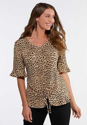 fb6eaccbba1 Plus Size Leopard Flutter Sleeve Top Tops Cato Fashions in 2019 ...