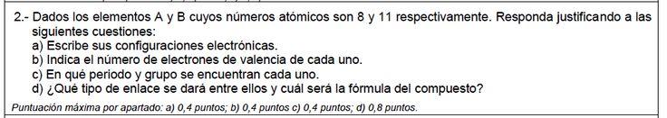Ejercicio 2A, JUNIO 2013-2014. Examen PAU de Química de Canarias. Temas: estructura atómica.