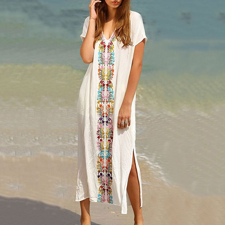 Find More Dresses Information about 2017 Summer Women Beach Long Boho White V Neck Short Sleeve Embroidery Dress Placement Print Split Side Maxi Dress Vestidos ,High Quality dress vestidos,China embroidery dress Suppliers, Cheap maxi dress from malenna Store on Aliexpress.com