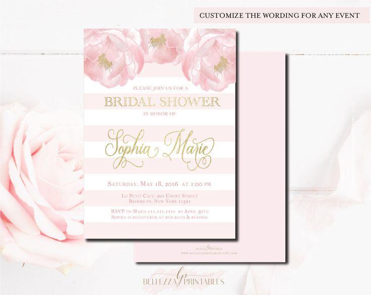 Floral Bridal Shower Invitations | Pink & Gold Bridal Shower | Spring Bridal Shower Invitations | Pink Bridal Shower | Peony Invitations by BellezzaPrintables on Etsy https://www.etsy.com/listing/398757407/floral-bridal-shower-invitations-pink