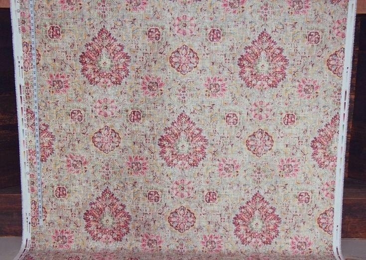 Vintage Victorian rug fabric maroon pink chenille velvet  upholstery
