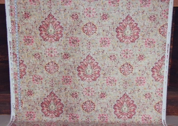Vintage Victorian rug fabric maroon pink chenille velvet  upholstery