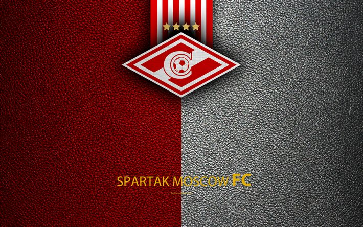 Download wallpapers FC Spartak Moscow, 4k, logo, Russian football club, leather texture, Russian Premier League, football, Moscow, Russia