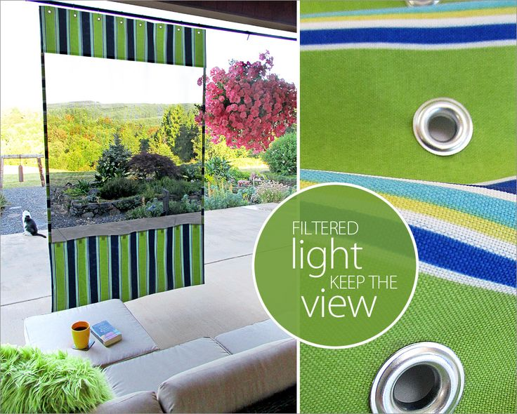 Clever DIY! Use Dritz grommets and mesh fabric to create this Outdoor Hanging Shade Screen. Easy summer #sewing