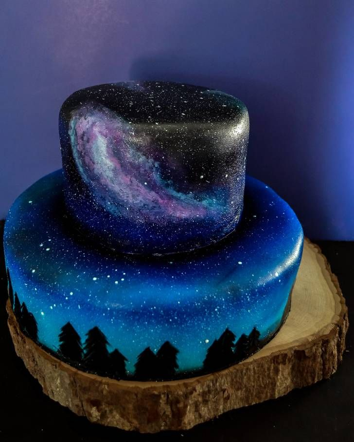 I was asked to make a galaxy themed cake and cupcakes for A wedding. [oC] - Album on Imgur