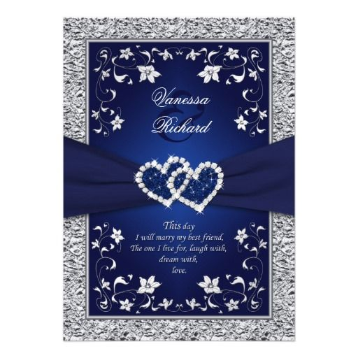 Elegant Wedding Invitation featuring a Royal Navy Blue Background with Platinum or Silver Diamond Floral Hearts in a FAUX Foil look.