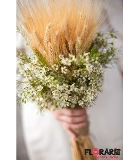 Buchet mireasa rustic spice de grau si wax flowers