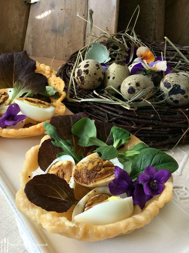 Nidi di Parmigiano Reggiano con uova di quaglia, misticanza e Aceto balsamico tradizionale di Modena D.O.P.