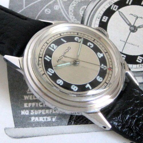 Mens-1940s-Movado-WWII-Era-BULLSEYE-Dial-Borgel-Taubert-Vintage-Swiss-Made-Watch