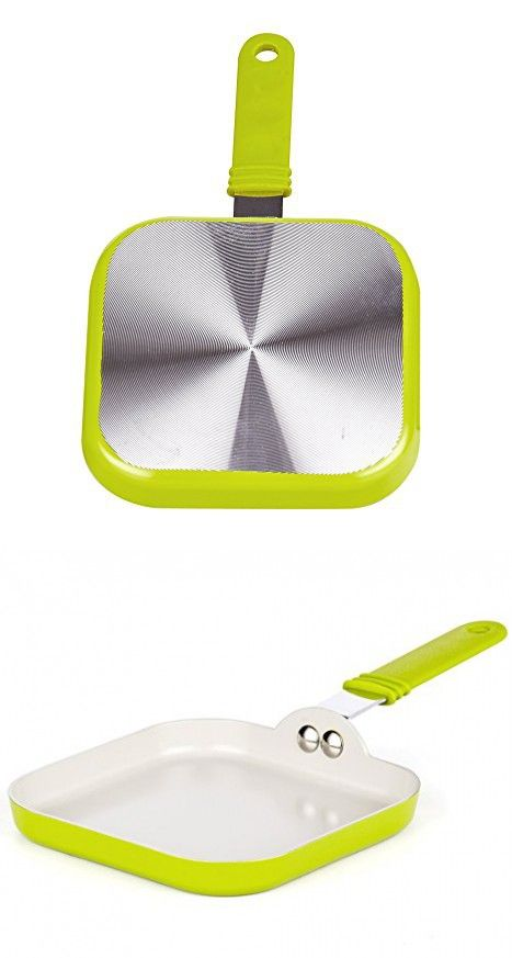 """Cook N Home Nonstick Ceramic Coating Square Mini Toast Griddle Pan, 5.5"""" x 5.5"""", Green"""