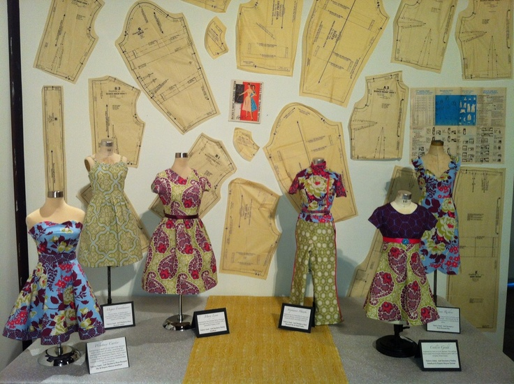 Pictures from the Silhouette Art Exhibit at Utah State University showcasing Advanced Clothing Production Students work.  Fabrics for the display were donated by Joel Dewberry!