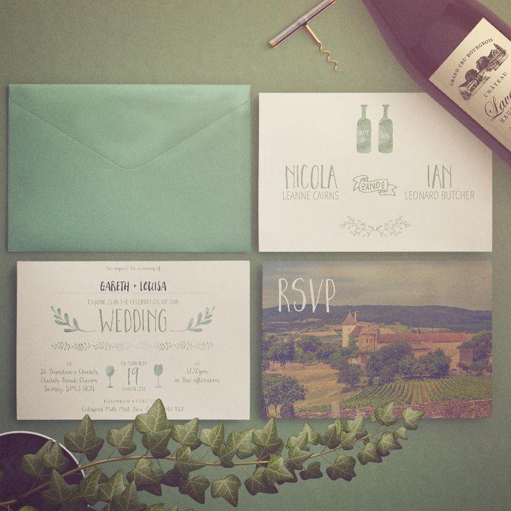 French Vintage Wedding Invitations: Vintage French Wine Themed Wedding Invitations