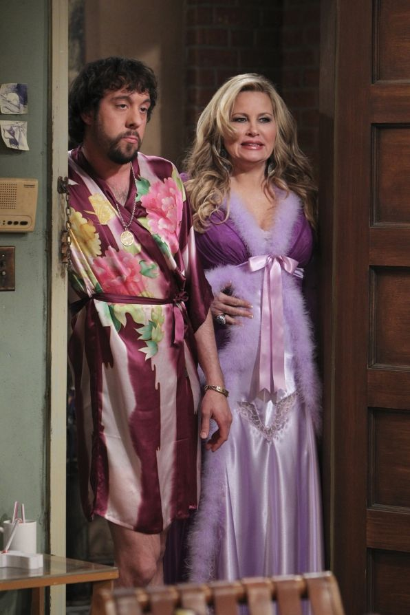 And the Spring Break Oleg (Jonathan Kite) and Sophie (Jennifer Coolidge) have a confession to make, on 2 BROKE GIRLS. Photo: Sonja Flemming/CBS ©2012 CBS Broadcasting, Inc. All Rights Reserved.