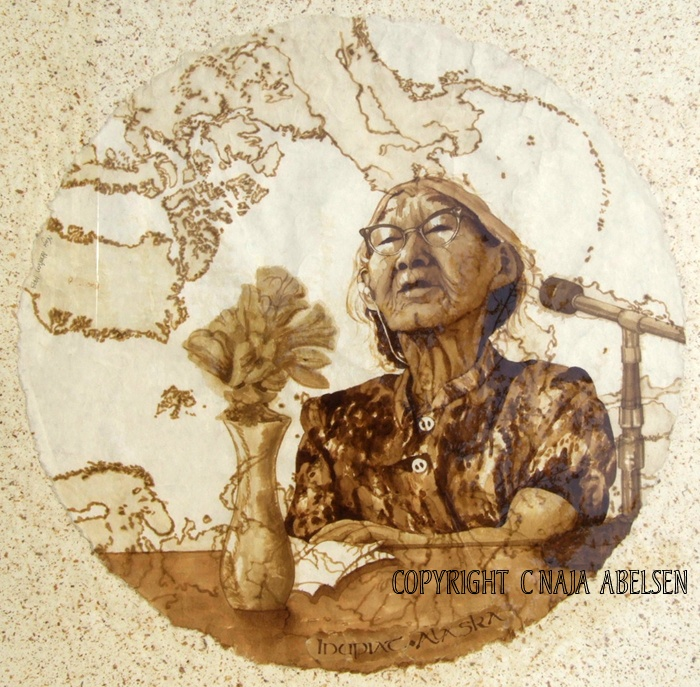 Portrait of an Inupiat woman (inuit). Plant colour. Painting by Naja Abelsen (sold)