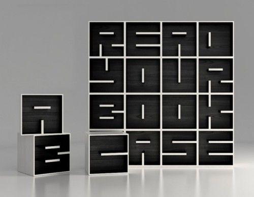 awesome bookcase: Eva Alessandrini, Decor Ideas, Awesome Bookca, Design Eva, Cool Bookshelves, Typographic Bookca, Books Love, Modern Bookca, Books Cases