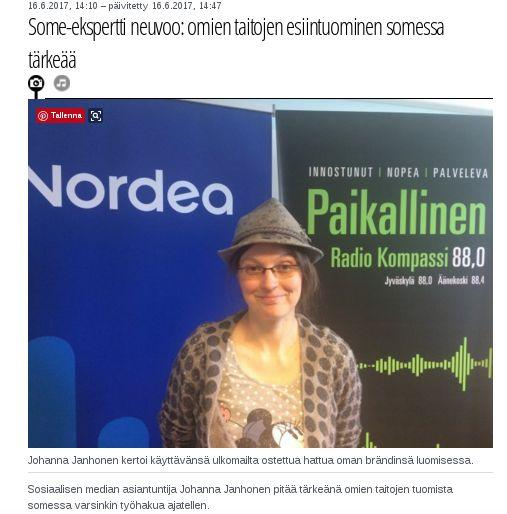 Viime viikolla minua haastateltiin Radio Kompassiin henkilöbrändäyksestä somessa. Käy kuuntelemassa juttu!