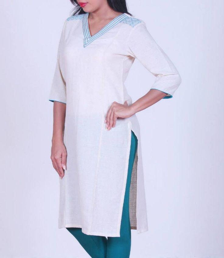 Off-white with sea green, #handloom cotton kurta, Shop at http://bit.ly/1AaAz12