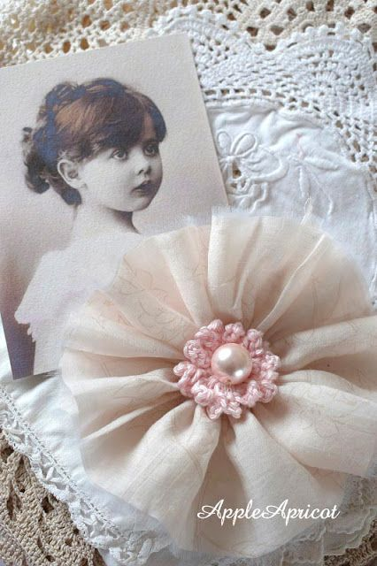 Fabric and crochet flower by AppleApricot