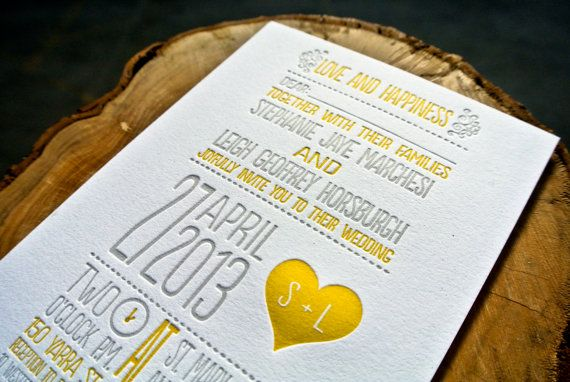 Letterpress Wedding Invitation Yellow and Gray by WideEyesDesign, $2.00