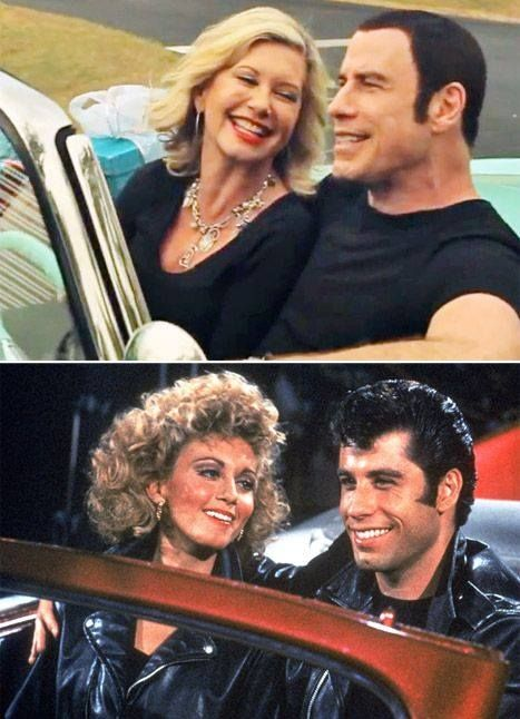 Olivia Newton-John and John Travolta in 2012 and appearing in Grease in 1978.