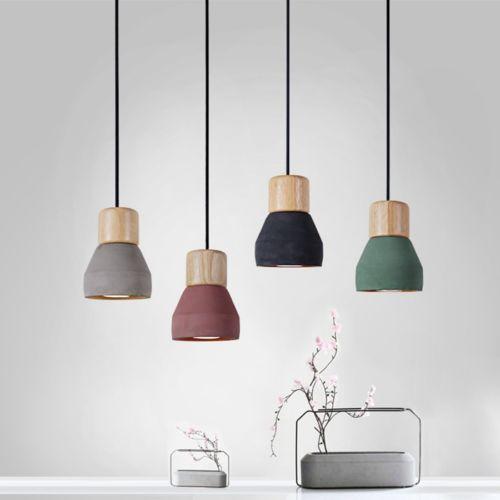 Modern-Wood-Timber-Concrete-Cement-Pendant-Lamp-Ceiling-Light-Chandelier-W-Bulb