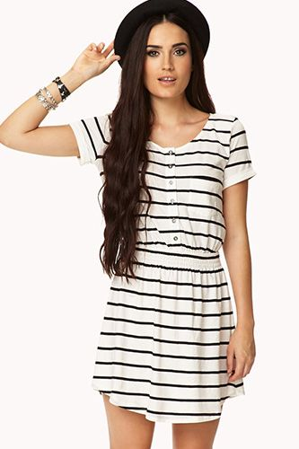 Forever 21 Casual Striped Dress, $15.80, available at Forever 21. It is so comfy but it's slightly see through which kinda sucks. But still wearable with the right underwear!