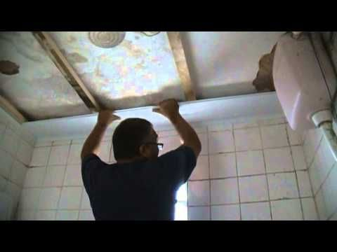 Colocando forro PVC no sarrafo com grampo - YouTube