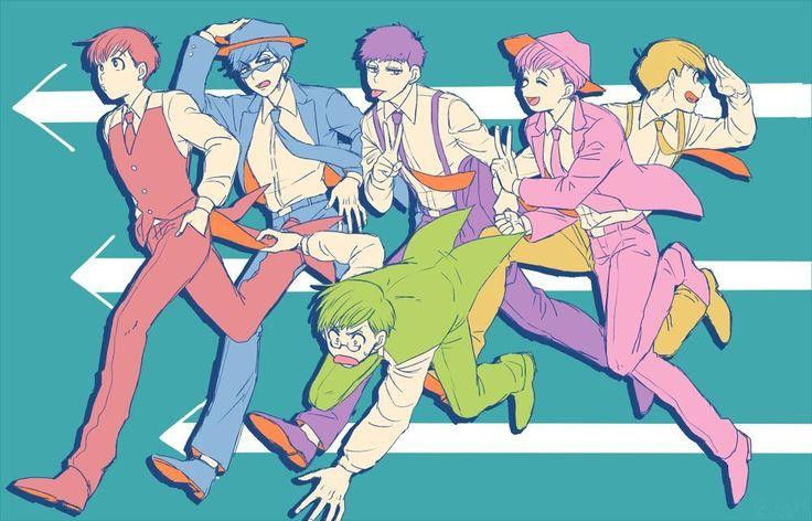 Osomatsu,Karamatsu,Choromatsu,Ichimatsu,Jyushimatsu y Todomatsu