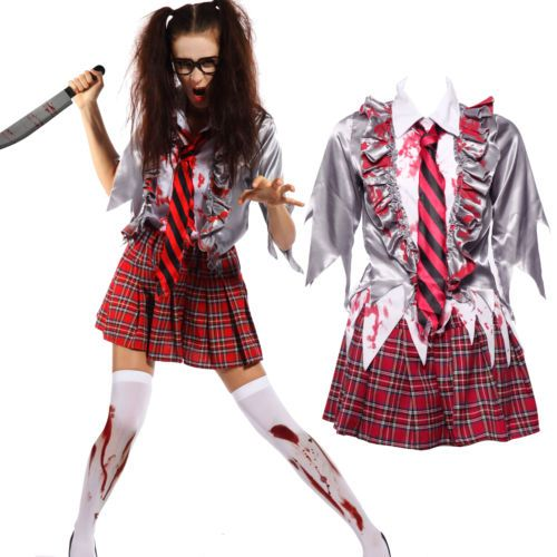 Halloween carnival christmas #party zombie #school girl costume womens #fancy dre, View more on the LINK: http://www.zeppy.io/product/gb/2/262052501809/